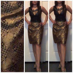 SOLD MOVING SALE Vintage Jacquard Skirt Gold